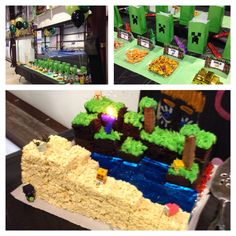 DIY Minecraft birthday party. We ordered the diamonds and coal erasers from Amazon and made everything else. The cake is chocolate cake, icing, kitkat, jello, and Rice Krispie treats. Free printouts online!