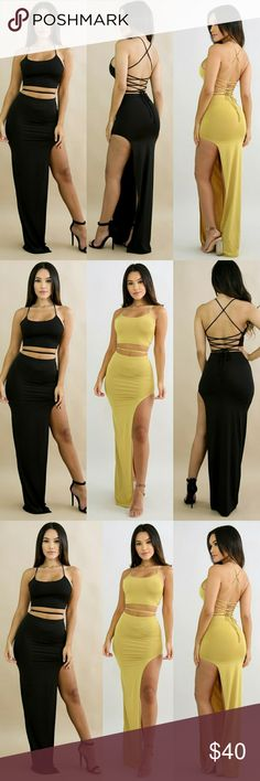 Swing slit skirt set 95% POLY 5% SPANDEX This swing slit skirt set features, a stretchy fabric, laced up back crop top, round neckline, high slit skirt, no closures. Model is wearing a smallLabel Unspecified Good Dresses Maxi