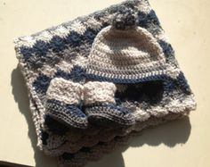 Items similar to Handmade Crochet baby boy stroller Blanket/ traveller/new born/ boy cozy crochet blanket with a Matching Hat and booties any size you like. on Etsy