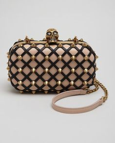 Obsessed with this Studded Skull-Clasp Clutch Bag, Blush/Black by Alexander McQueen at Neiman Marcus.