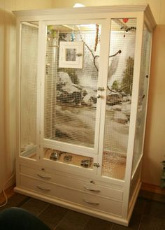 Pet Bird Cage Ideas... Pet Bird Cage Ideas: Turn an old wardrobe into a bird cage.  Looks like a doable pet bird diy project for folks with a little woodworking skill or those willing to take it slow.
