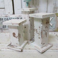 Wooden candle holders handmade large hand painted white distressed shabby