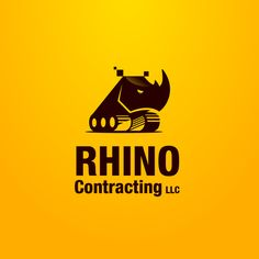 Rhino Contracting Logo Design by Musework. Construction machinery, rhinoceros, African animal, strong, wild, zoo.