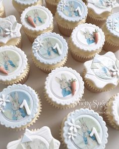 Browse through the different cakes we create here at The Pretty Sugar Cake Company, from Wedding Cakes & Wedding Favours to Celebration Cakes, to Cupcakes & Cookies. Peter Rabbit Cake, Peter Rabbit Birthday, Peter Rabbit Party, Bunny Birthday Cake, First Birthday Cupcakes, Cupcake Party, Christening Cupcakes, Christening Party, Button Cupcakes