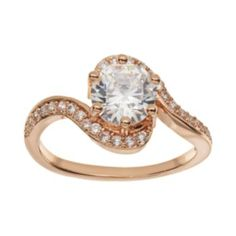 Cubic Zirconia 18k Rose Gold Over Brass Swirl Ring