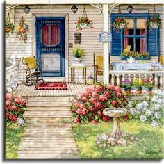 Summer Front Porch, an original oil painting and a giclee , personally enhanced and by the artist Janet Kruskamp showing the front door, narrow window and a deck like porch. Round aggregate paving stones lead up to the three steps of the porch, bordered on the right side with brightly colored white and red flowers. A wicker chair sits behing the white railing of the porch surrounded by pots of bright blooming flowers. Three colorful watering cans serve as planters on the second step up. A…