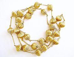 Satin Gold Necklace NAPIER Vintage Long Flapper by RenaissanceFair
