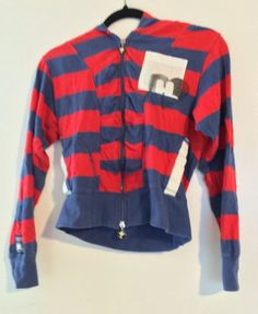 Harajuku Lovers Harajuku Girl Blue and Red Sweater Size Medium Kawaii | eBay #harajukulovers #harajuku #gwenstefani #designersweater #hoodedzipupsweater #blueandredstripes #designer #apparel #fashion #harajukufashion #kawaii #consignment