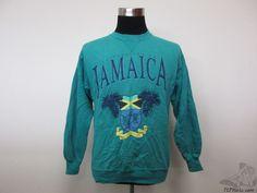 Vtg 90s Hanes University of Jamaica Crewneck Sweatshirt sz L Large Green Blue #Hanes #Jamaica #tcpkickz