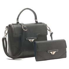 "Hadasu - PU Leather 2 Pcs Set Snake Patent Carry Handle With Long Strap Crossbody, Turn-lock Closure, with Matching Wallet Fashion Structured Women Handbag Purse and Coin Wallet Color:Golden Black Handbags Size: Width:12.2""/31cm Height:8""/21cm Depth:4.8""/12cm Handle Drop:19.3""/50cm Wallet Size: Width:7.7""/19.5cm Height:4.5""/12cm Depth:1.4""/3.7cm Light Gold tone hardware"