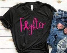 Check out our breast cancer shirt selection for the very best in unique or custom, handmade pieces from our clothing shops. Breast Cancer Shirts, Breast Cancer Walk, Cancer Awareness Shirts, Breast Cancer Awareness, Ethnic Fashion, New Fashion, Unisex Christmas Gifts, Matching Shirts, Fashion Forward