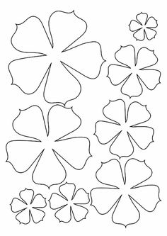 Paper Flowers Craft, Giant Paper Flowers, Flower Crafts, Diy Flowers, Fabric Flowers, Flower Petal Template, Flower Svg, Leaf Template, Paper Flower Templates