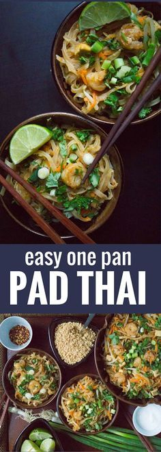 Easy One Pan Pad Thai. I adapted this recipe from one that I got when I took a cooking class in Thailand... so you know it's authentic! Your whole family will love adjusting their bowl to their own tastes: salty, sour, spicy, or sweet!