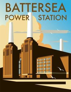 UK Art Deco: Battersea Power Station print by Dave Thompson Art Nouveau, Battersea Power Station, London Art, London Icons, London Photos, Art Deco Illustration, Digital Illustration, Art Deco Posters, Retro Posters
