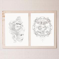 Print Sketch Mermaids A3 by ImagineAndDoHelsinki on Etsy, €22.90