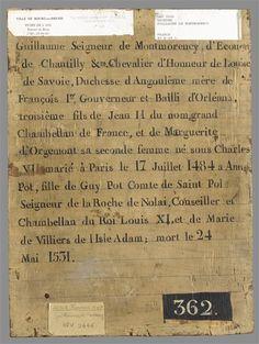 Guillaume de Montmorency (1455-1531). Reverse of protrait