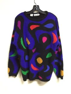 80s sweater vintage colorful fuzzy knit paisley by NTRDMNSNL