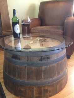 wine barrel coffee table glass top - Tables are among the home furniture within your house which is . Wine Barrel Coffee Table, Outdoor Coffee Tables, Glass Top Coffee Table, Glass Table, Table Baril, Unique Furniture, Diy Furniture, House Furniture, Barris