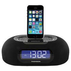 The Thomson Dual Alarm Clock Radio With Lightning Dock allows the use to charge and play lightning powered iPhone and iPod models including iPhone 5, $79