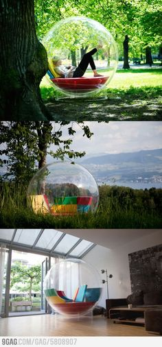 Relaxing in your own bubble. Its called Cocoon 1. I want this so badd!