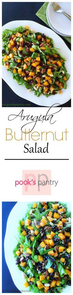 Arugula, Butternut & White Bean Salad with Maple Vinaigrette  #sundaysupper