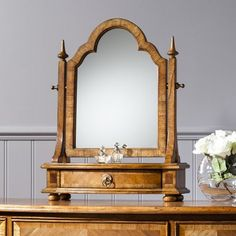 Style Dressing Table Mirror  Crafted from Mindy Ash solid wood, features blonde European walnut and American walnut inlays.  Sits nicely atop the Style Dressing Table…