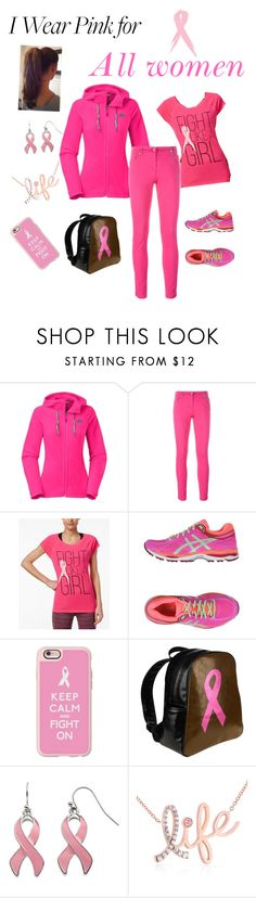 """Breast cancer awareness month"" by sandiwaller ❤ liked on Polyvore featuring The North Face, Kenzo, Ideology, Asics, Casetify, Kobelli and IWearPinkFor"