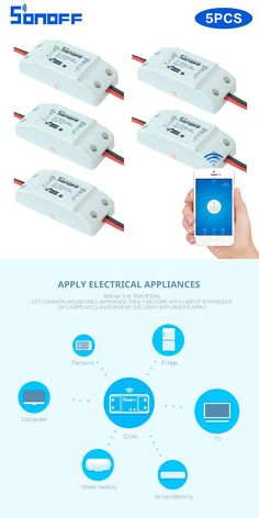 5pcs Sonoff Wifi Smart Wireless Switch DIY Home Automation Modules with timer on off switch Smart remote control 10A/2200W