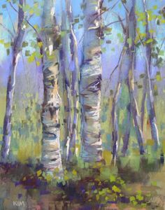 Painting My World: August 2010 Aspen Trees, Pastel Art, Tree Art, My World, Sketches, Tree Paintings, Abstract Paintings, Drawings, Illustration
