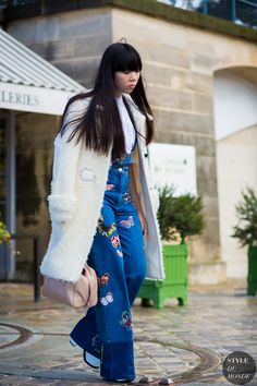 Susie Lau. Susie Bubble. Street Style Fashion Photography. The Denim overralls though.