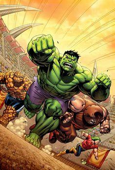 The Thing, The Hulk, Juggernaut & Doc Samson - David Nakayama