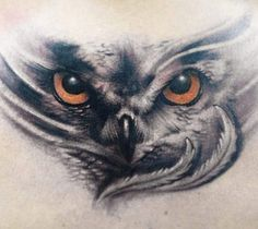 Realistic 3 colors Owl tattoo by artist Yomico Moreno