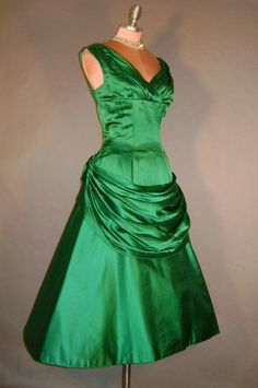 Vintage 50s Emerald GREEN SILK draped Holiday by HellKitty on Etsy, $295.00