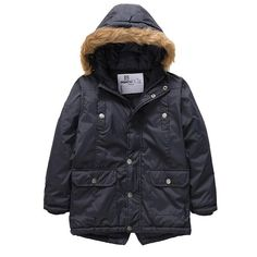 Buy Boys' Winter Windproof Cotton Faux Fur Hooded Parka Jacket - Blue - and Find More Boys' Outdoor Recreation Jackets & Coats enjoy up to off. Boys Winter Jackets, Girls Coats & Jackets, Winter Fur Coats, Parka Jackets, Winter Outfits For Girls, Outdoor Outfit, Long Coats, Hooded Parka, Faux Fur