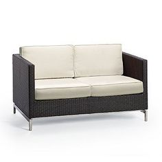 Metropolitan Outdoor Loveseat with Cushions in Panther Finish - Off-White, Special Order - Frontgate, Patio Furniture by Frontgate. $1974.00. Hidden powdercoated aluminum frames. Cushions have high-resiliency foam cores wrapped in plush polyester. Polished 304 stainless steel legs. Handwoven Viro® fibers. Contemporary design. Contemporary design. Handwoven Viro® fibers. Polished 304 stainless steel legs. Hidden powdercoated aluminum frames. Cushions have high-resili...
