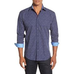 Bugatchi Shaped Fit Solid Sport Shirt ($149) ❤ liked on Polyvore featuring men's fashion, men's clothing, men's shirts, men's casual shirts, black, mens sport shirts, mens french cuff shirts, mens button front shirts, mens collared shirts and bugatchi mens shirts