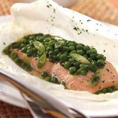 Poached salmon with peas and mint @ allrecipes.co.uk