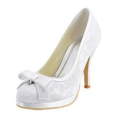 Charming Satin and Lace Stiletto Heel Pumps with Bowknot Wedding Shoes(More Colors) – EUR € 41.24