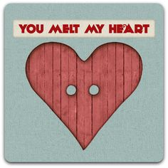 Carte double 'Melt my Heart' création originale fait main 15cm x 15cm : Cartes par card-bubble