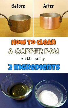Learn how to clean a copper pan with only 2 ingredients. Diy Home Cleaning, Cleaning Recipes, Green Cleaning, House Cleaning Tips, Diy Cleaning Products, Cleaning Solutions, Cleaning Hacks, Home Cleaning Remedies, How To Clean Copper