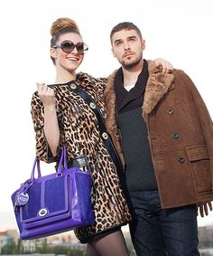 Amy & Nick pose in Coach Holiday 2012 looks. Why didn't I get that coat?!?! Smh