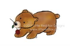 bear with flower - perfect for Valentine's Day Fox Design, Red Fox, Little Red, Tigger, Disney Characters, Fictional Characters, How To Draw Hands, Greeting Cards, Valentines