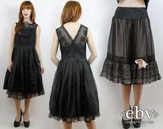 #Vintage #50s Sheer Black #Prom #Party #Dress + Vintage #Slip Set, fits S/M by #shopEBV http://etsy.me/1D7HE75 via @Etsy #1950s #madmen