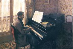 Young Man Playing the Piano, 1876, Gustave Caillebotte    Medium: oil on canvas