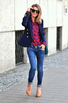Blazer + plaid + denim & flats. preppy outfit