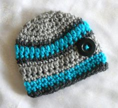 Baby Boy Hat Splashed with Turquoise Newborn Baby hat for Winter or Fall Ready