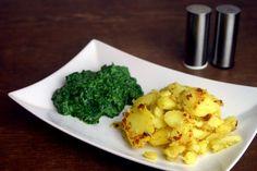 Veganer Rahmspinat (sojafrei) mit Bratkartoffeln