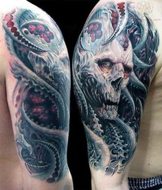 This tattoo has probably fueled at least a few nightmares. #InkedMagazine #tattoo #skull #tattoos #Inked #Ink