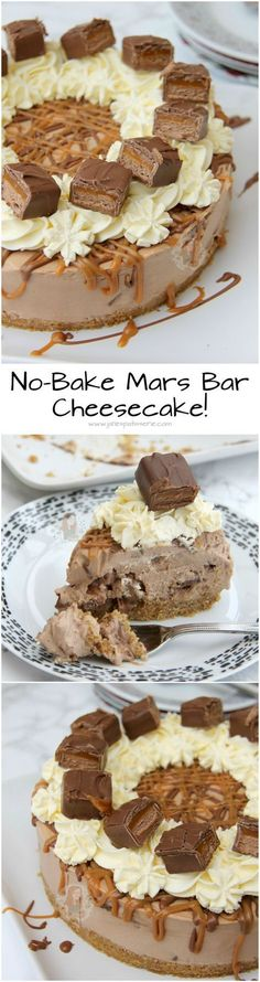 No-Bake Mars Bar Cheesecake! ❤️ Chocolate & Caramel Cheesecake Filling, Chunks of Mars Bar, and even more yum! No-Bake Mars Bar Cheesecake! ❤️ Chocolate & Caramel Cheesecake Filling, Chunks of Mars Bar, and even more yum! No Bake Desserts, Just Desserts, Delicious Desserts, Dessert Recipes, Pudding Desserts, Food Cakes, Cupcake Cakes, Cupcakes, Baked Cheesecake Recipe