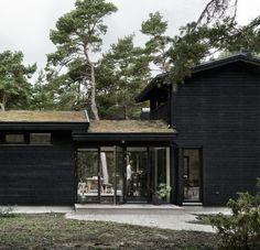 Skogshuset vid stranden, Gotland – M.Arkitektur Modern Wooden House, Modern Barn, Cabins In The Woods, House In The Woods, Breezeway, Bauhaus, Black House, Future House, Building A House